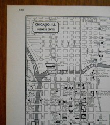 Vintage Chicago City Street Map Business District