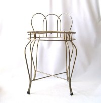 vintage metal vanity chair furniture gold mid century modern