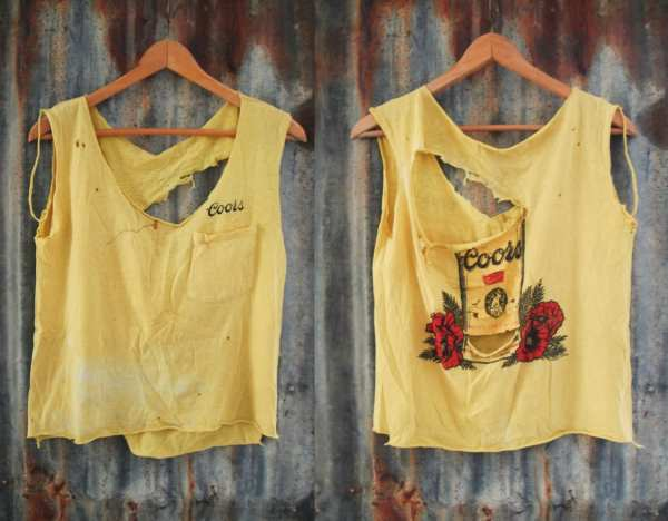 Vintage Destroyed Coors Banquet T Shirt Tank Cropped Top