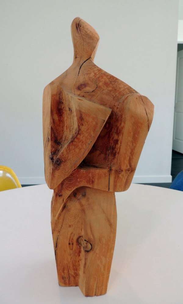 Mid Century Wood Sculpture Abstract Person Modernist