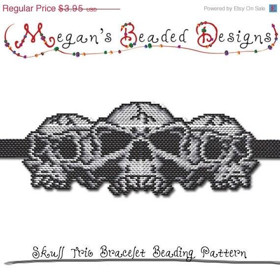 BEADING PATTERN Halloween Skull Trio by MegansBeadedDesigns