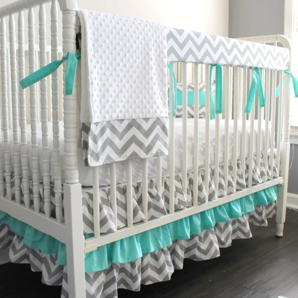 Custom Crib Bedding. Gray Chevron Aqua Blue Bumperless