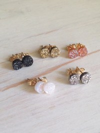 Druzy Studs Black Druzy Earrings Druzy Jewelry Tiny Druzy