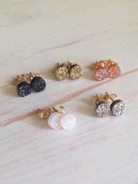 Druzy Studs Black Druzy Earrings Druzy Jewelry Tiny Druzy