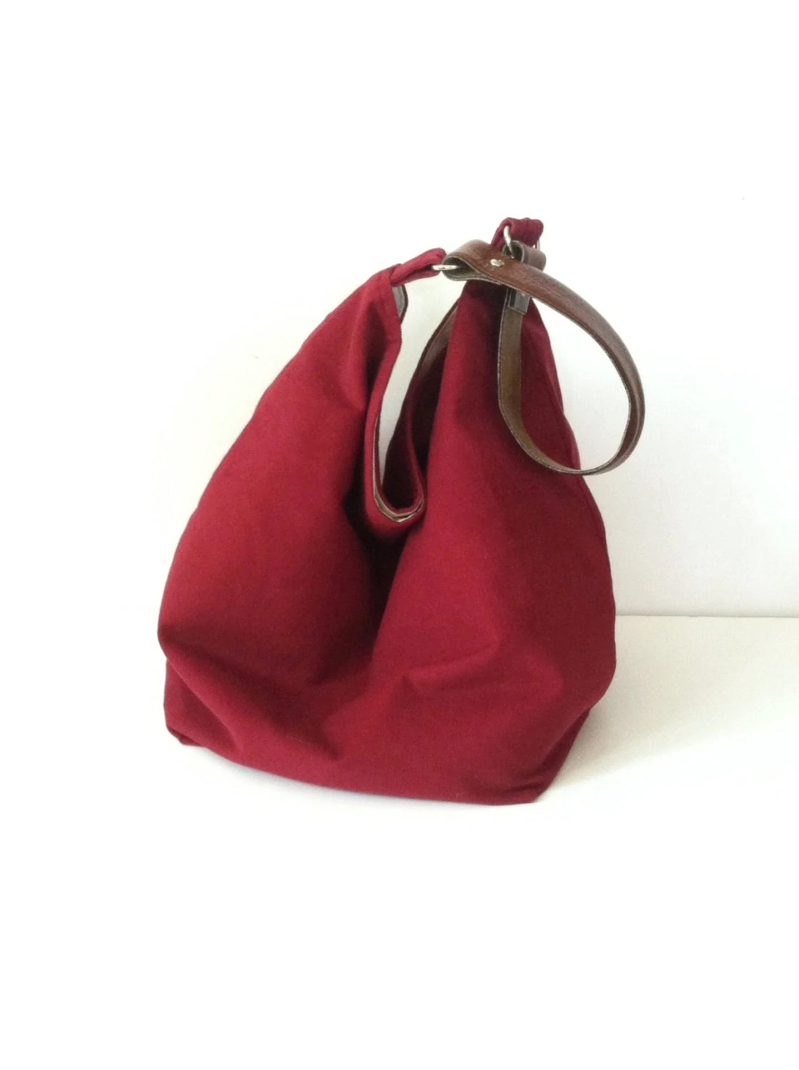 Cranberry Corduroy Hobo Bag - Slouchy Box Bag - Fall Tote - Bucket Style Purse - JuneberryStitches