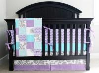 Custom baby bedding Aqua Purple and Grey Crib Bedding
