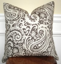 Paisley pillow cover. Brown and cream paisley linen pillow
