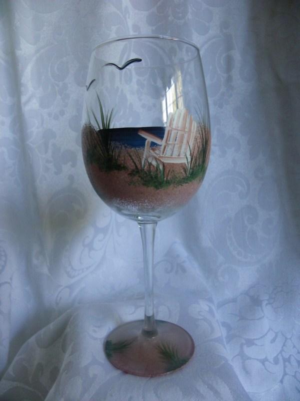 Hand Painted Wine Glasses Beach