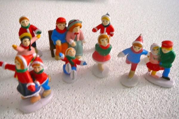 Christmas Village Skating Figurines Plastic by AnniesMarket