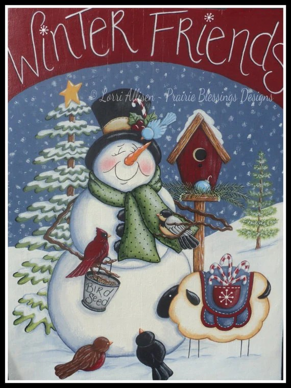 Snowman And Birds Winter Friends Painting Pattern Packet