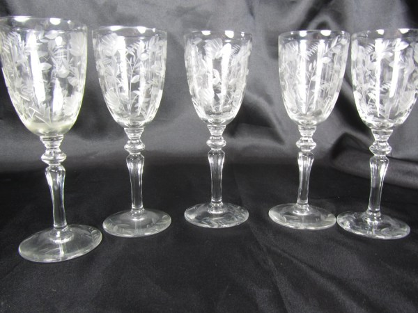 Vintage Cordial Glasses Etched Glass Wedding Wine