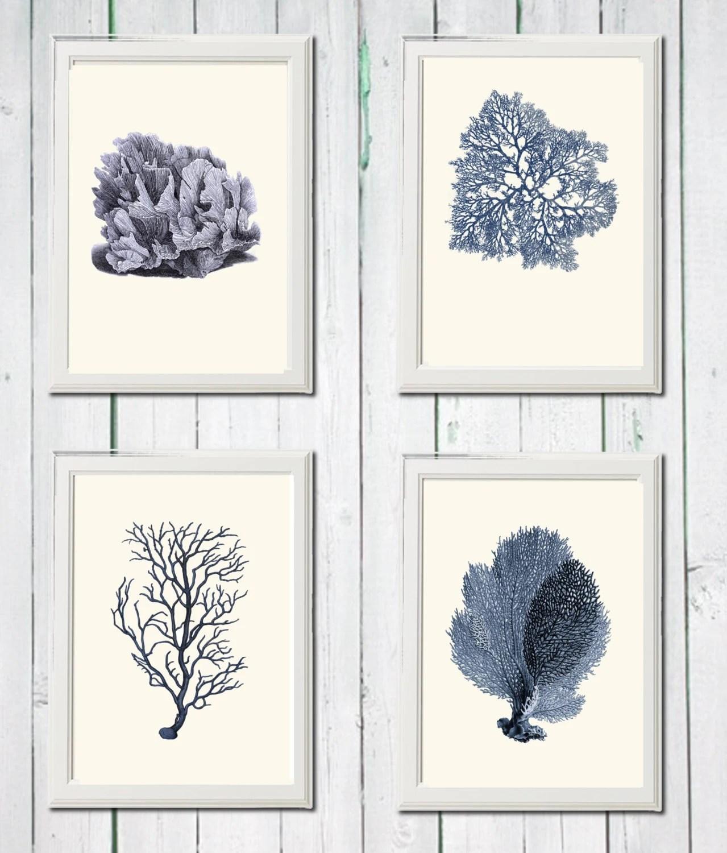 Navy Blue Coral Print 4 Art Sea Vintage Printables 85 X 11