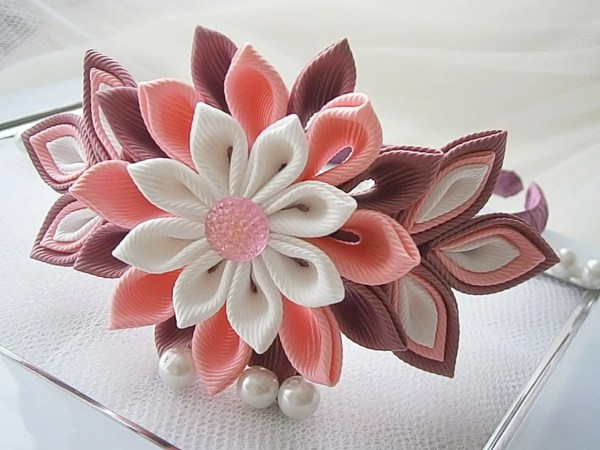 Kanzashi Tsunami Fabric Flower Hair Headband Uk