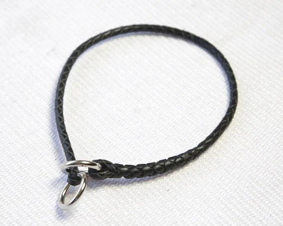 Custom Kangaroo leather braided slip collar custom made for