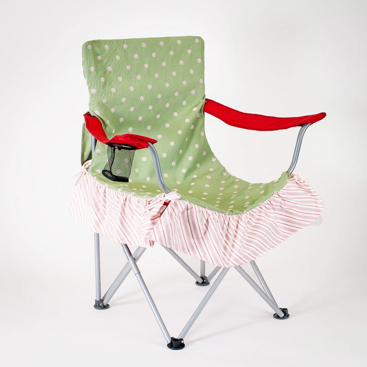 Green Chair Covers Preppy Green And Pink Polka Dot Chair Cover For Glamping