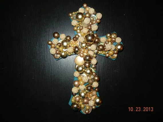 Cross Made from Vintage Buttons and Beads