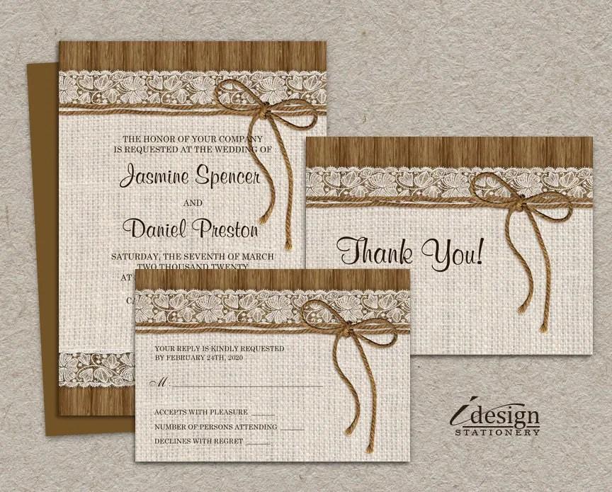 DIY Printable Rustic Wedding Invitation Sets Burlap And Lace