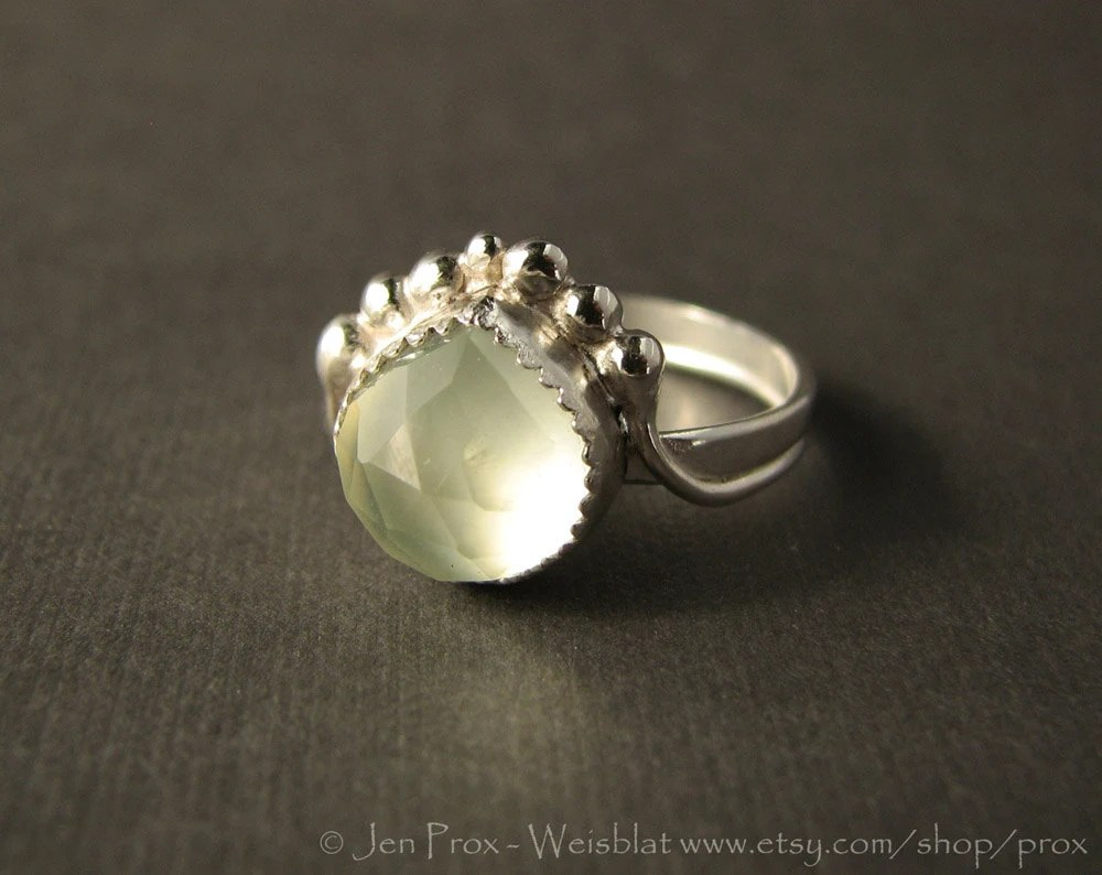 prehnite and sterling silver ring - ooak ring - unique ring - soft green ring - size 8 ring - ring with silver balls - prox