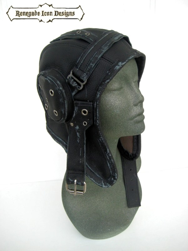 Aviator Hat Flight Cap Tank Girl Leather Distressed