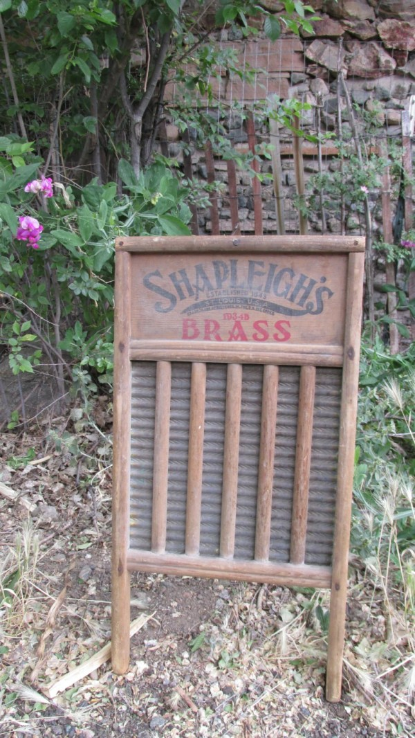Antique Shapleigh' 1934 Brass And Wood Washboard Great