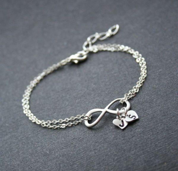 Personalized Infinity Silver Infinity Heart Bracelet