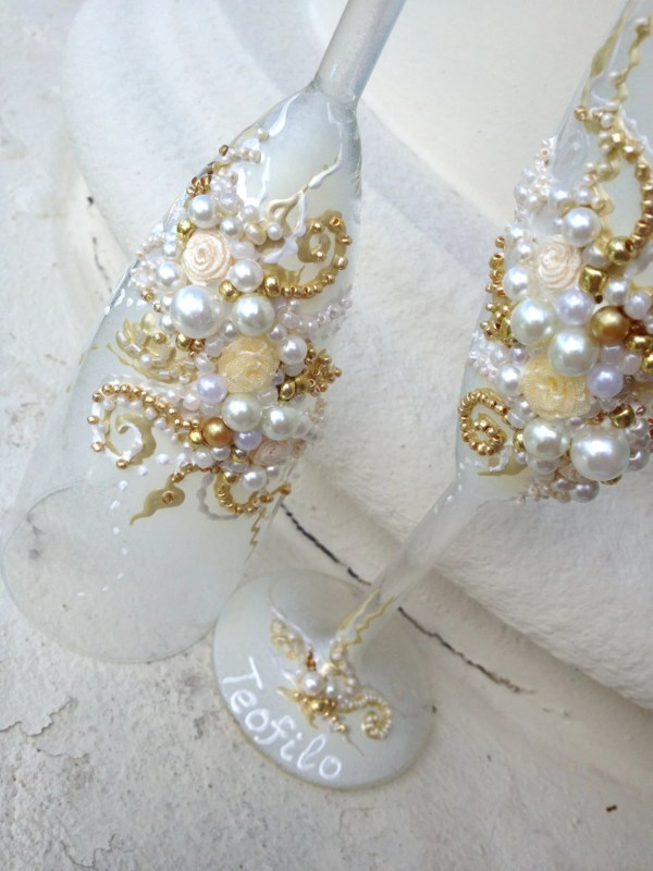 Elegant Wedding Champagne Glass
