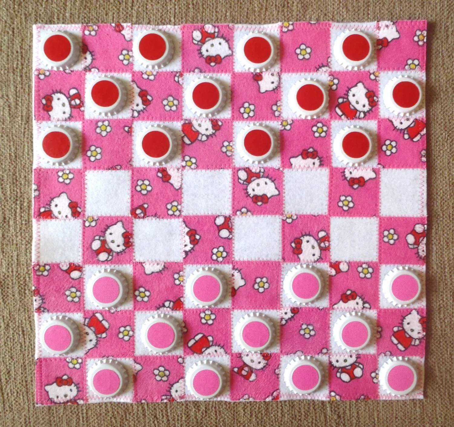 Handmade Hello Kitty Checkerboard With Checkers In A Matching