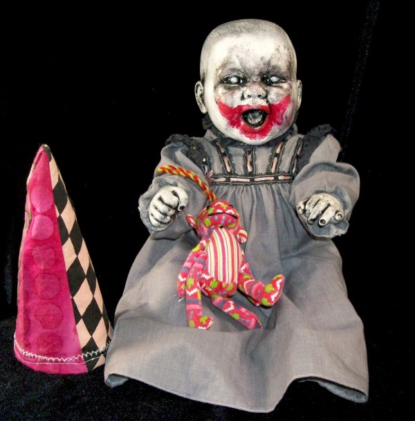 Clown Baby Horror Prop Creepy Altered Art Doll Dark by