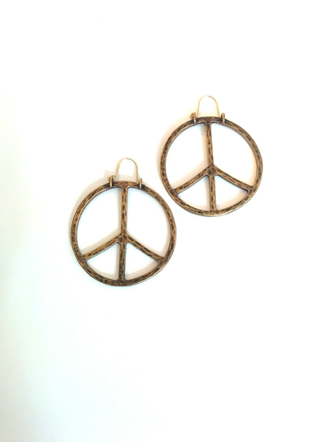 Vintage 1970s Peace Sign earrings hoop earrings by BambooBimbo