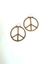 Vintage 1970s Peace Sign earrings hoop earrings by BambooBimbo