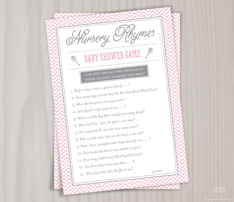 Pink Nursery Rhyme Baby Shower Game Printable Mother Goose