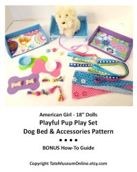 American Girl 18 inch Doll House Playful Pup Play Set Dog Bed