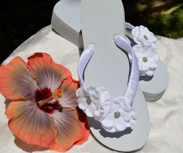 White Bridal Flip Flops With Flower & Rhinestones Flat
