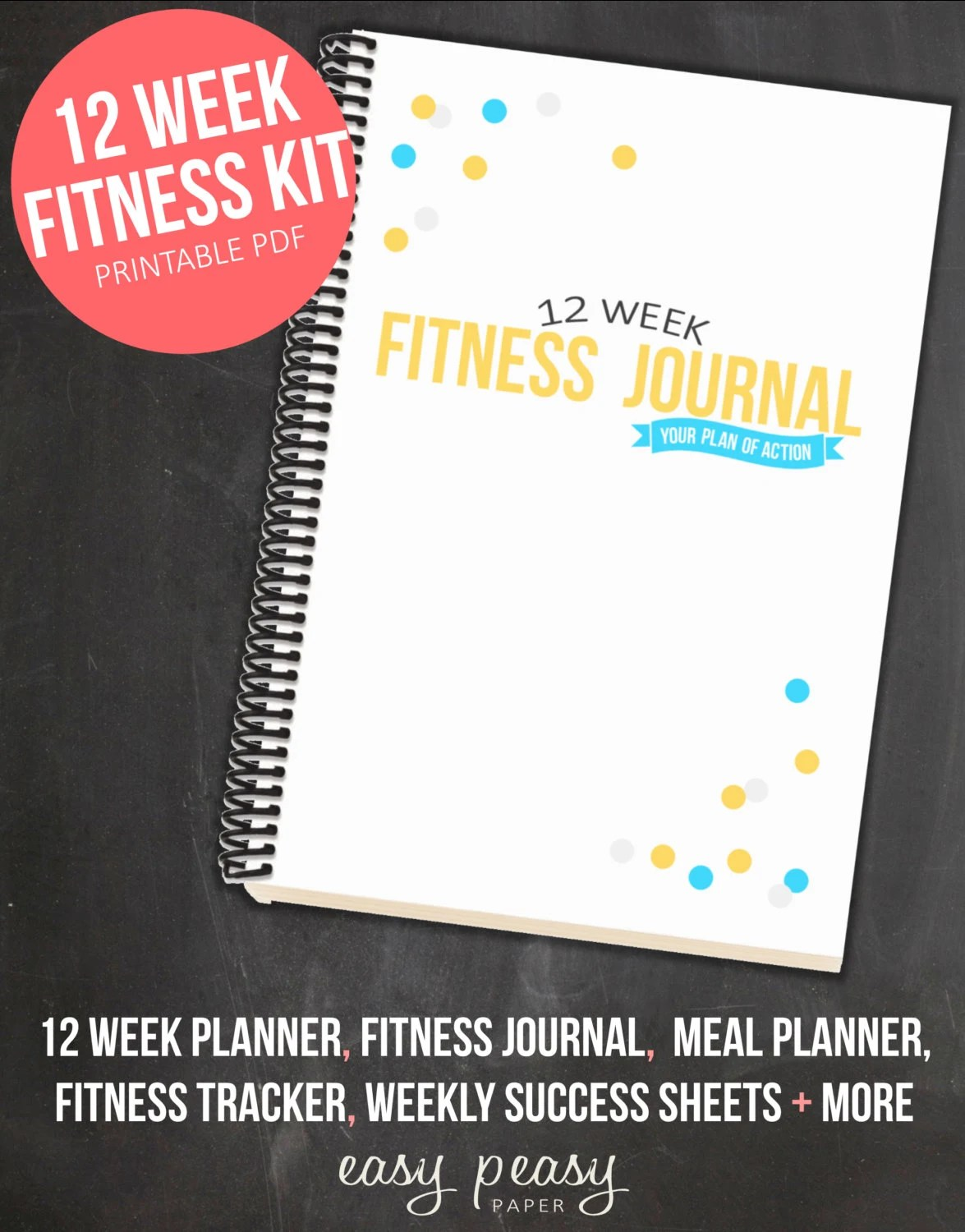 12 Week Fitness Planner Printable Health And By Easypeasypaper
