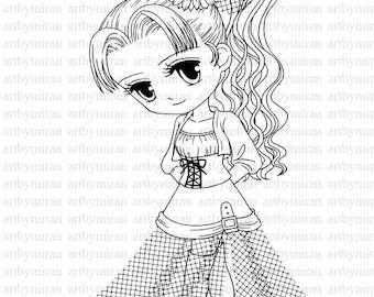Handmade cute girl digi stamp