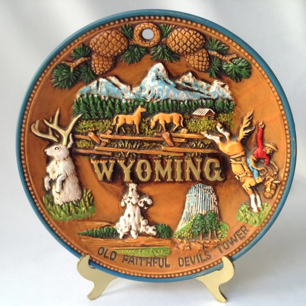 Souvenir Plate Great State Of Wyoming