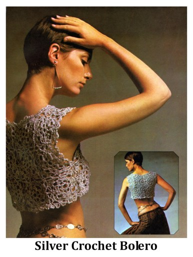 holiday gift to make Vintage Crochet Pattern Metallic Crocheted Motif Bolero for Teens Women Bust Sizes 34-36 Inches Join As You Go Instant PDF Leaflet Download