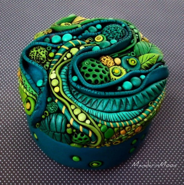 Neptunes Garden Mosaic Trinket Box Polymer Clay and Glass