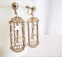 Vintage Birdcage Clip Earrings Bird Cage Dangling Gold