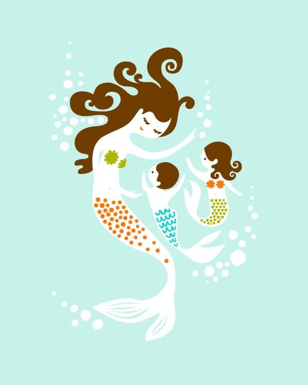 8x10 Mermaid Mother And Twin Boy Girl. Giclee Print