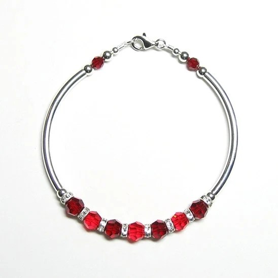 Red & sterling silver fitted bracelet