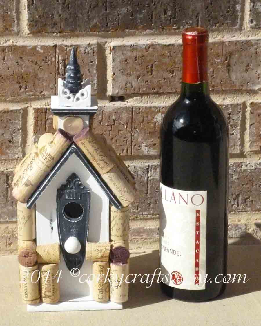 Wine cork bird house, wine tweet retreat for your feathered friends - Corkycrafts