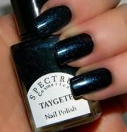 black nail polish with teal sparkle