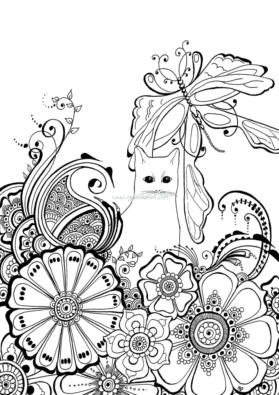 Colour the cat (2) with henna flowers and dragonfly