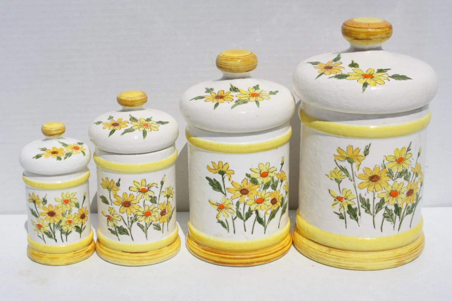 Vintage 70s Daisy Flower Ceramic Canister Kitchen Set Sears