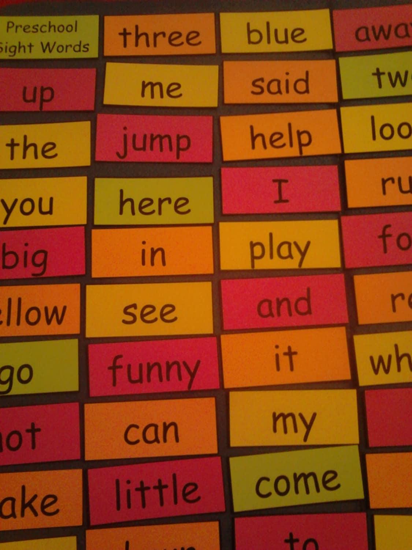 Preschool Sight Words Preschool Dolch Words Preschool Words