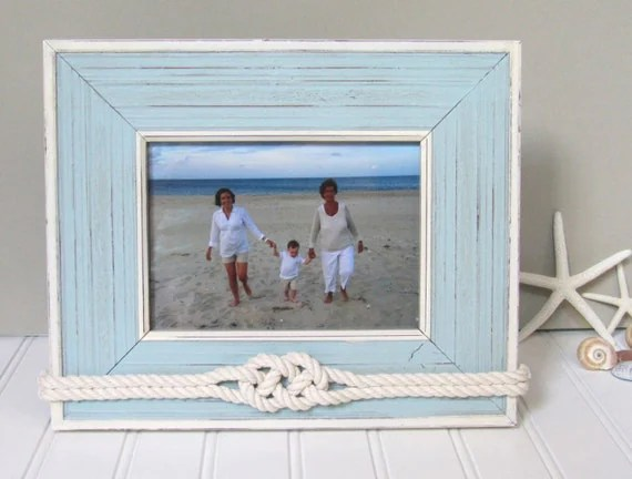 5x7 Light Blue Beach Picture Frame Nautical Decor