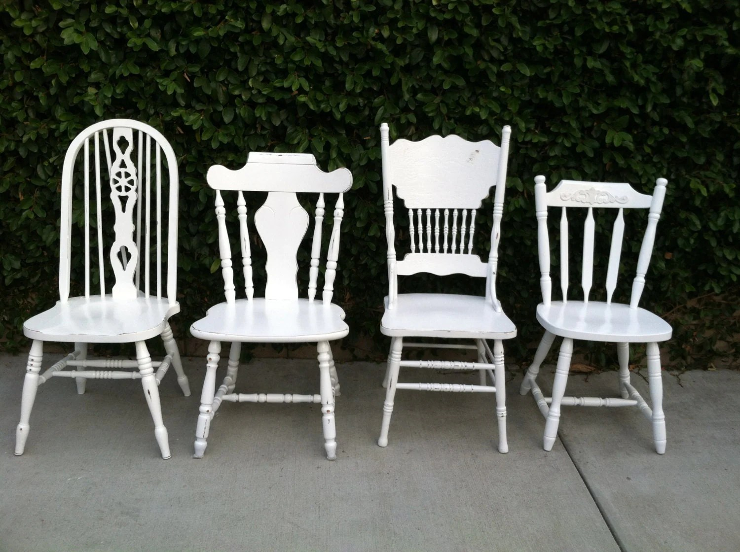 white dining chairs set of 4 steel chair hire mismatched shabby by