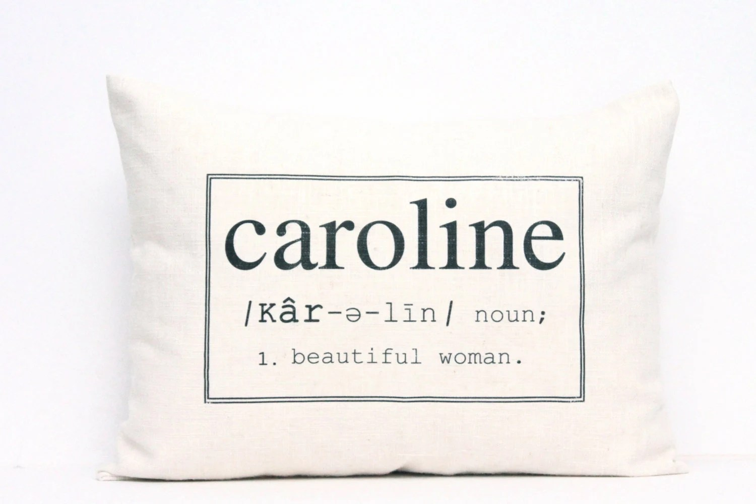 "personalized pillow, baby name pillow, custom pillow, newborn gift, christmas gift  - ""The Caroline"" - coverLove"