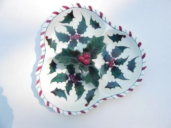 Vintage Christmas Plate Divided Lefton China Vintiquesetcii